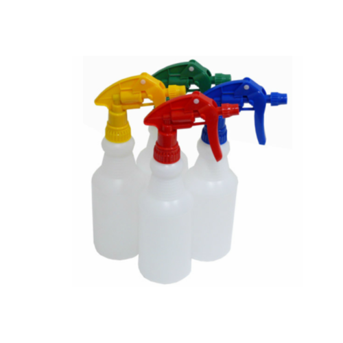 Plastic Spray Bottle 500ml with YELLOW Trigger Spray - Straight Sides Wasted Neck Chemical Resistant