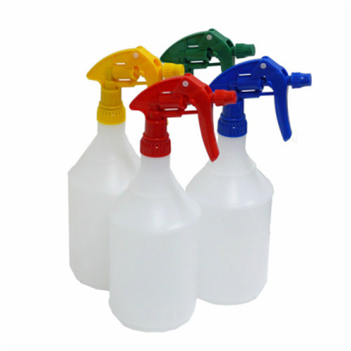 Plastic Spray Bottle 1L with Trigger Spray - Calibrated, Chemical Resistant - GREEN