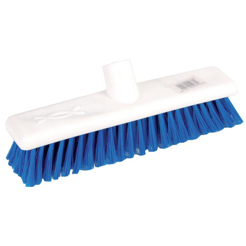 Hygiene Broom Head ONLY - 40cm White Poly Stock BLUE Medium Poly Bristles