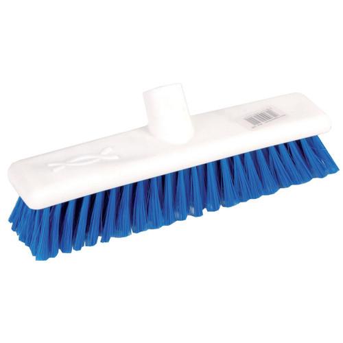Hygiene Broom Head ONLY - 60cm White Poly Stock BLUE Medium Poly Bristles