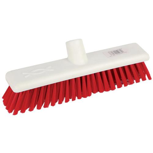 Hygiene Broom Head ONLY - 60cm White Poly Stock RED Medium Poly Bristles