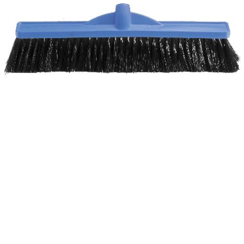 Platform Broom Head ONLY - 45cm Poly Stock BLUE with EXTRA STIFF Poly Bristles Black - [B-12141]