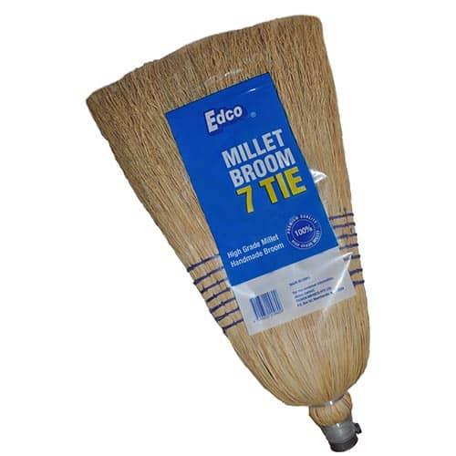 Millet Broom with Wooden Handle - 7 Tie Premium