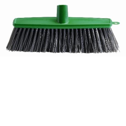 Outdoor Patio 22cm - Broom Head ONLY - [B-11303] - GREEN Poly Stock Black Stiff Bristles