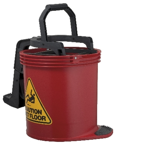 Mop Wringer Bucket Duraclean Mark II - 15L with Castors - RED