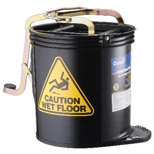 Contractor Mop Wringer Bucket 15L with Castors - BLACK - [IW-005BLK] - OATES