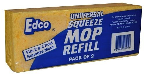 Squeeze Mop REFILL Sponge - EDCO Universal Fits 2 and 4 Post - 2/PKT