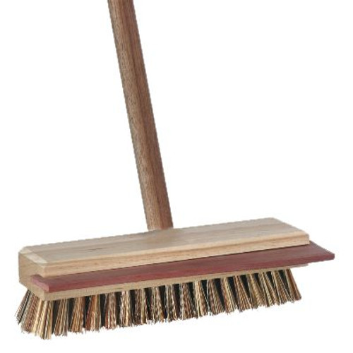 Deck Scrub and Squeegee 30cm - [B-12423F] - Wood Stock - BROWN Stiff Bristles with Wooden Handle - OATES