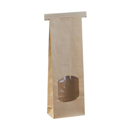 SOS Retail Bag - 250g Small Brown Polylined / Tin Tie with Window