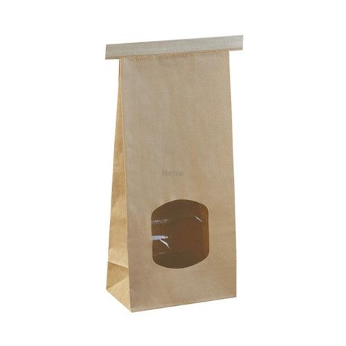 SOS Retail Bag - 500g Medium Brown Polylined / Tin Tie with Window