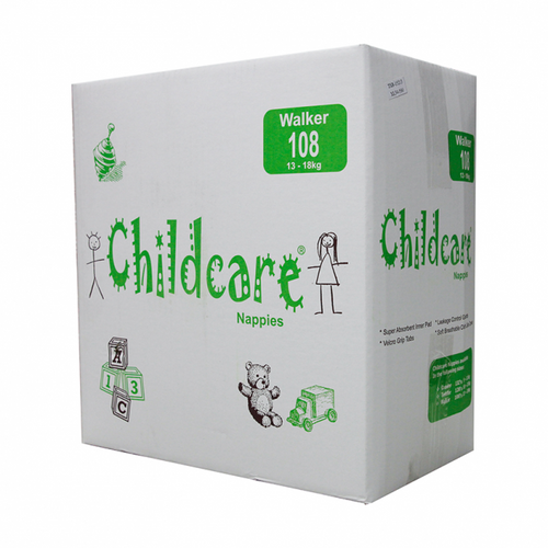 Childcare Nappies - Walker / Extra Large 13-18kg - [CCW108] - (108 Nappies/Ctn)