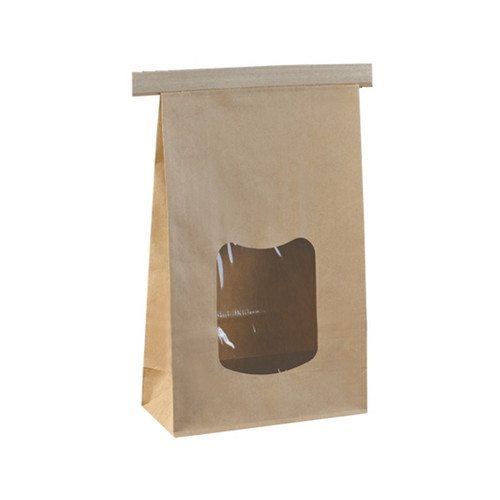 SOS Retail Bag - 1kg Large Brown Polylined / Tin Tie with Window