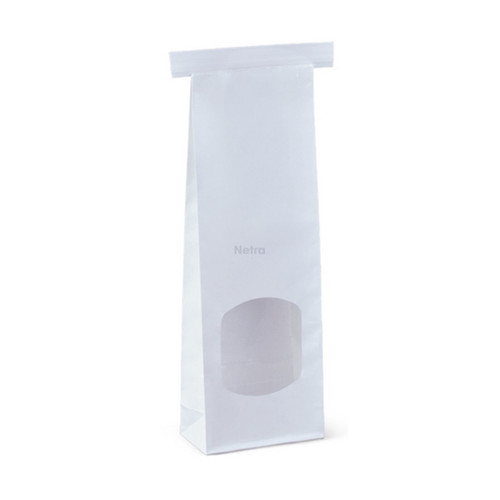 SOS Retail Bag - 250g Small White Polylined / Tin Tie with Window