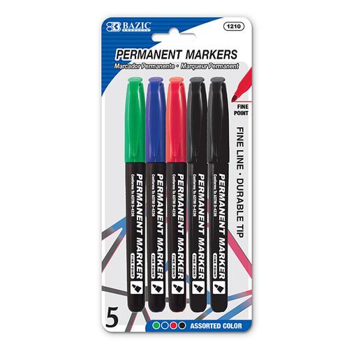 Permanent Marker - Assorted Colours - Fine Line Tip (5/pkt)