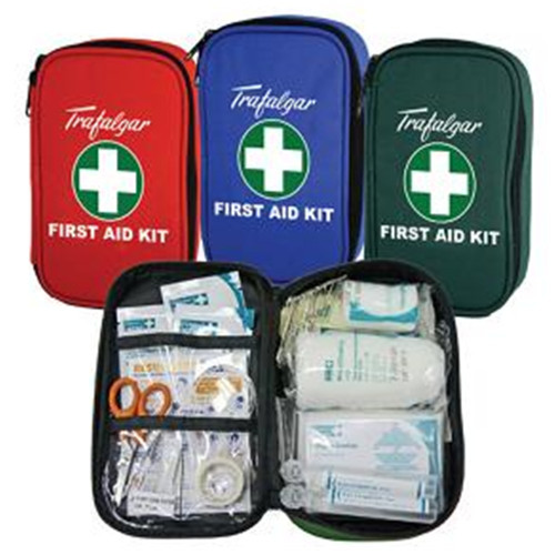 First Aid Kit - Vehicle & Low Risk RED Compact Zipper Canvas Case