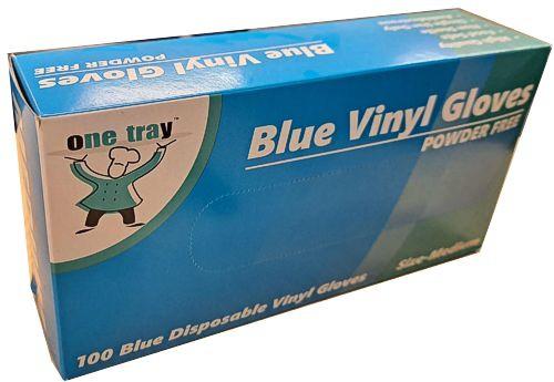 Glove Vinyl - BLUE - Food Handling - (Powdered) - MEDIUM