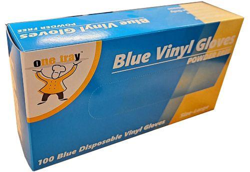 Glove Vinyl - BLUE - Food Handling - (Powdered) - LARGE