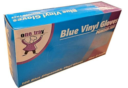Glove Vinyl - BLUE - Food Handling - (Powdered) - EXTRA LARGE
