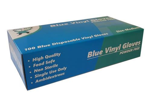 Glove Vinyl Blue POWDER FREE - Medium