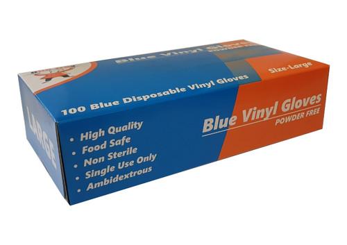 Glove Vinyl Blue POWDER FREE - Large