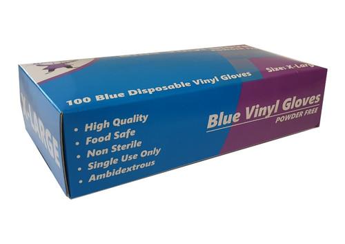 Glove Vinyl Blue POWDER FREE - Extra Large