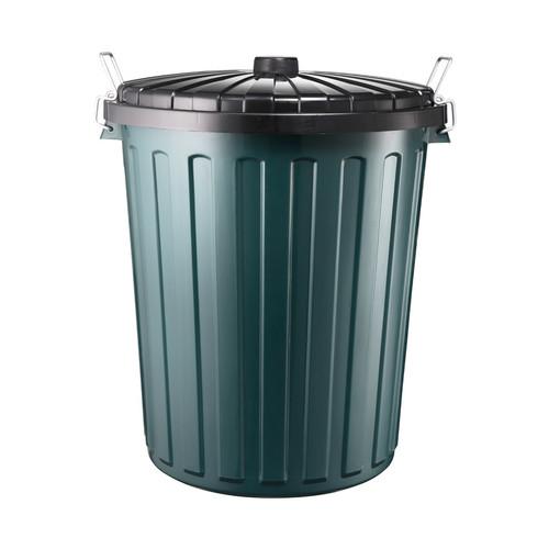 Rubbish Bin - 55 Litre Round Green Bin With Black Lid