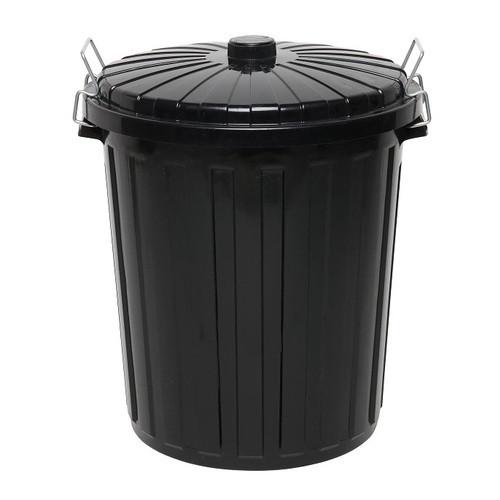 Rubbish Bin - 73 Litre Round Black Bin with Black Lid