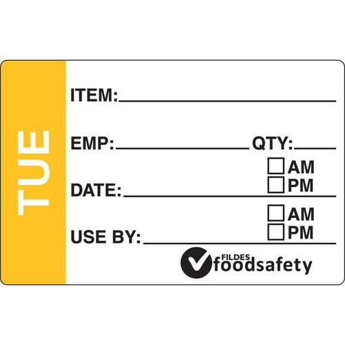 Food Rotation Label - DISSOLVABLE - Rectangular - 49 x 75mm Prep [32200] - TUESDAY