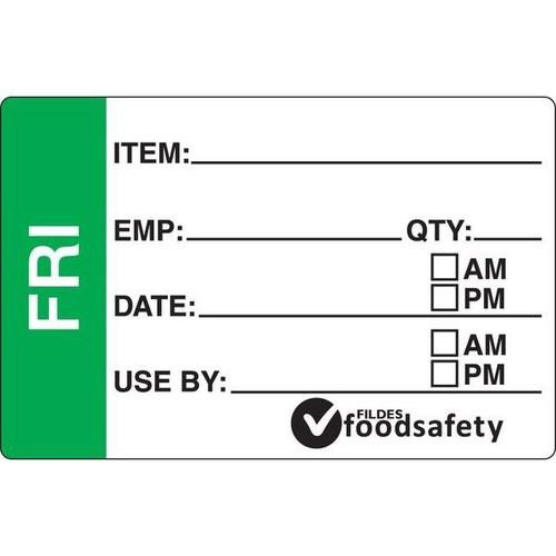 Food Rotation Label - DISSOLVABLE - Rectangular - 49 x 75mm Prep [32500] - FRIDAY