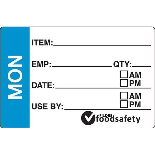 Food Rotation Label - PERMANENT - Rectangular - 49 x 75mm Prep [31100] - MONDAY
