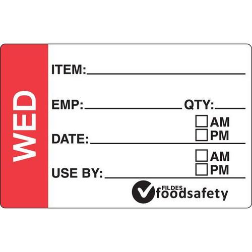 Food Rotation Label - PERMANENT - Rectangular - 49 x 75mm Prep [31300] - WEDNESDAY