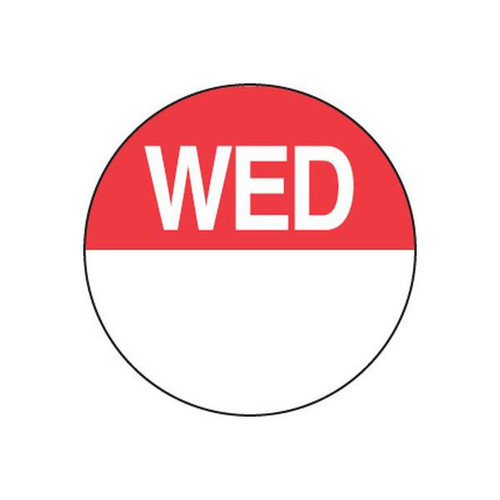 Food Rotation Label - PERMANENT - ROUND 24mm [81300] - WEDNESDAY
