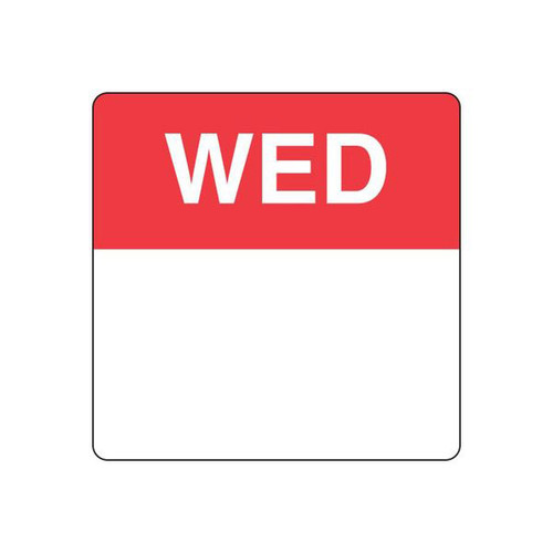 Food Rotation Label - PERMANENT - SQUARE 40mm [91300] - WEDNESDAY