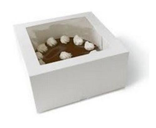 "Cake Box with Window - 9"" Square Patisserie Box - [Q103S0001] - 230x230x75mm"