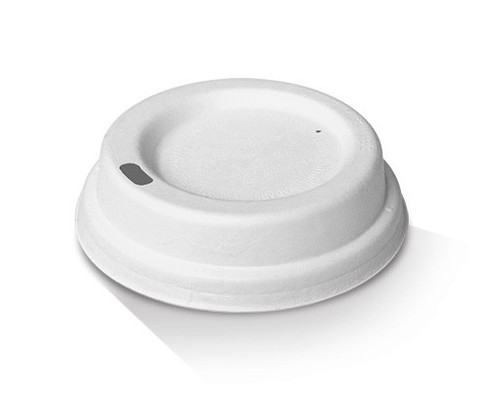 LID TRAVEL (BAGASSE) - 80mm WHITE / suits 6oz/8oz/10oz Paper Coffee Cup