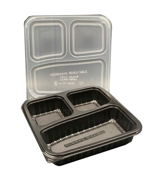 Bento Box - Rectangular (PP) - 1000ml - 3 Compartment - Combo Set - Black Base with Clear Lid