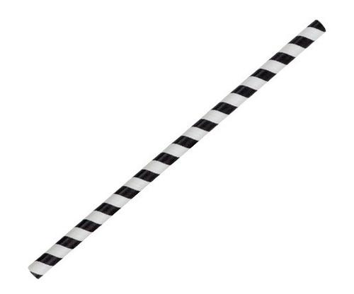 Straw (Paper) Jumbo - BLACK STRIPE - [PSJBLACK] - 240mm x 10mm Bore