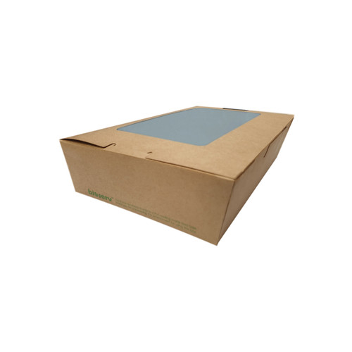 Lunch Box (Brown Kraft) PLA with Window - SMALL (650ml)