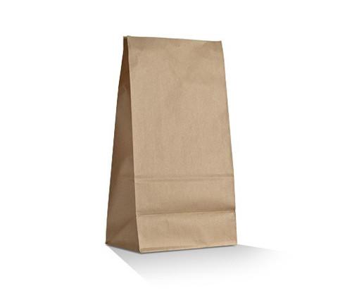 SOS Paper Bag - Brown Kraft Plain - MEDIUM (#8) - 100g Recycled Paper - Block Bottom - SIZE: 310x160x100mm - 500/CTN