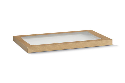 Catering Tray LID - RECTANGULAR - Brown Kraft (LARGE) - with PET Window - BIOSERV - 583x275x30mm