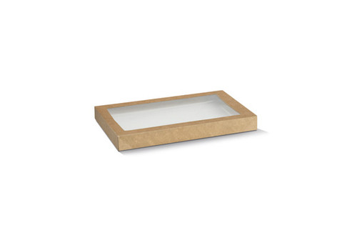 Catering Tray LID - RECTANGULAR - Brown Kraft (SMALL) with PET Window - BIOSERV