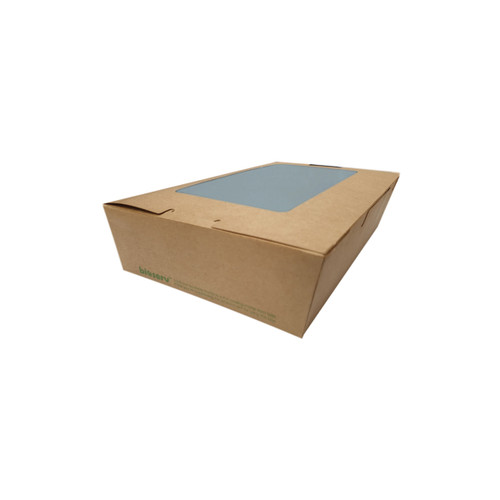 Lunch Box (Brown Kraft) PLA with Anti Fog Window - EX-SMALL (400ml)