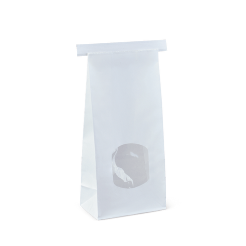 SOS Retail Bag - 500g Medium White Polylined / Tin Tie with Window [C575S0001]