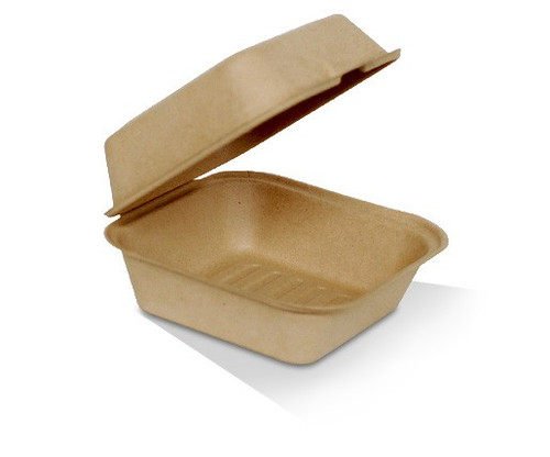 """Clamshell (Bamboo) - 6"""" Burger Box Large (Compostable) / 152x152x80mm"""