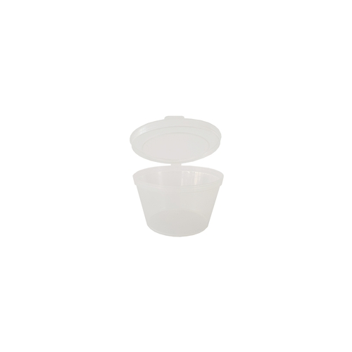 Sauce Tub (Plastic) - 100ml Clear with Hinged Lid