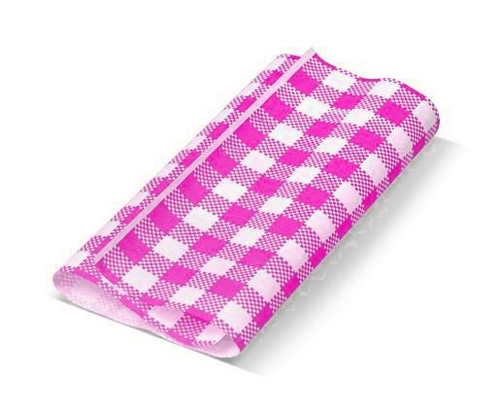 Greaseproof Paper Gingham PINK & White - 310x190mm 200/PKT