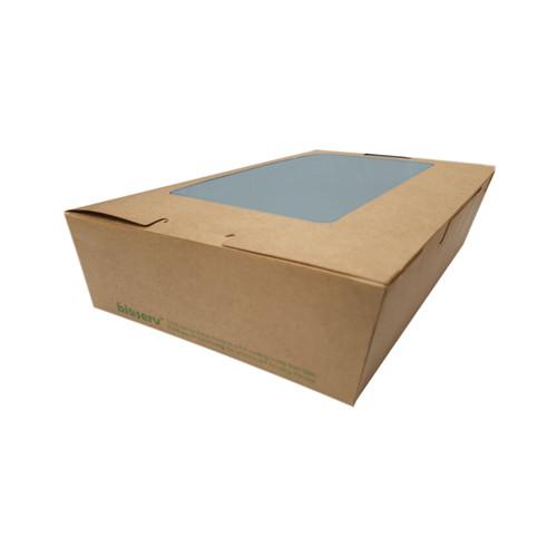 Lunch Box (Brown Board) with Window - MEDIUM (1100ml) - PLA - 180x120x50mm - 200/CTN