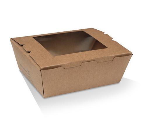 Lunch/Pail Box (Brown Kraft) PLA with PLA Window - [LBW3] - SMALL (650ml)  110x90x64mm