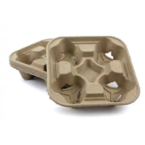 Cup Tray (Moulded Fibre) - 4 Cell Cup Carrier - Biopak - [B-CC-832] - 300/CTN