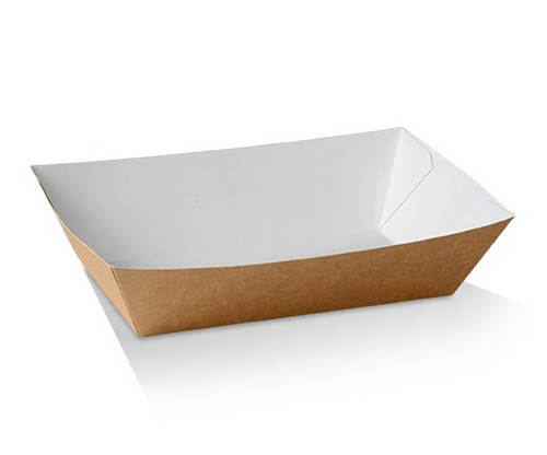 Food Tray (Brown Kraft) - #4 LARGE - (BT4) - 170x95x55 mm - Inside White- Outside brown